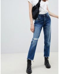 Cheap Monday - Cropped Mom Jean In Rigid Denim With Destroyed Hem - Lyst