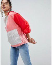 ASOS - Design Over The Head Rainmac In Colourblock - Lyst