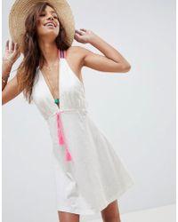ASOS - Jersey Beach Dress With Aztec Trim & Tassel Tie - Lyst