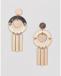 Missguided - Geometric Shape Drop Earring In Gold - Lyst