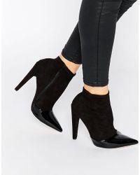 Little Mistress - Bogart Toecap Pull On Heeled Ankle Boots - Lyst