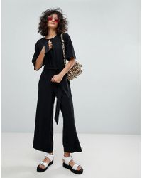 Monki - Wide Leg Jumpsuit In Black - Lyst