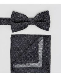 New Look - Speckled Bow Tie And Pocket Square In Navy - Lyst