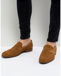Dune - Penny Loafers In Tan Suede - Lyst