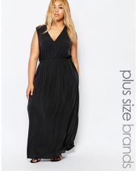 Carmakoma - Plunge Front Maxi Dress - Black - Lyst