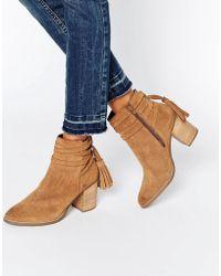 Faith - Tassle Suede Heeled Ankle Boots - Lyst