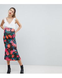 ASOS - Midaxi Skirt With Kickflare In Rose Floral Print - Lyst