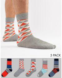 Jack & Jones - 5 Pack Patterned Socks - Lyst