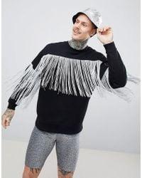 ASOS - Design Festival Oversized Sweatshirt In Black With Silver Fringe - Lyst