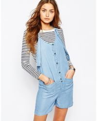 Noisy May Tall - Chambray Playsuit With Pockets - Lyst