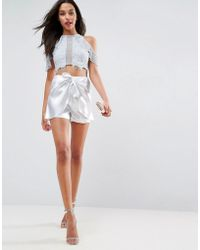 ASOS - Summer Metallic Belted Shorts - Lyst