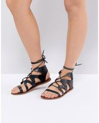 Warehouse - Leather Gladiator Sandals - Lyst