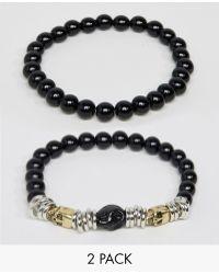 ASOS - Beaded Bracelet With Skulls - Lyst