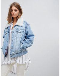 Free People - Plaid Lined Borg Denim Jacket - Lyst