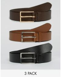 ASOS - Smart Leather Belt 3 Pack Save - Lyst