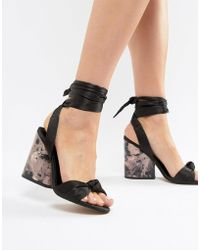 cb9a911ee4d7 Lyst - ASOS Humorous Wide Fit Heeled Sandals in Metallic