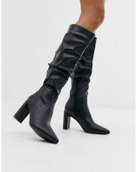 Public Desire Mine Black Slouch Knee Boots