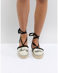Miss Kg - 'out Of Office' Tie Up Espadrilles - Lyst