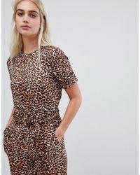 Pieces - Leopard Print Jumpsuit - Lyst