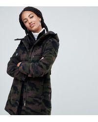 Esprit - Hooded Camo Print Coat - Lyst