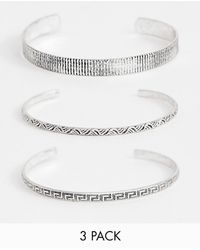 ASOS - Bangle Pack In Burnished Silver Tone - Lyst
