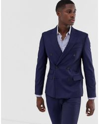 Moss Bros - Slim-fit Double-breasted Colbert Met Stretch In Marineblauw - Lyst
