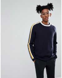 ASOS - Fluffy Jumper With Contrast Stripes In Navy - Lyst