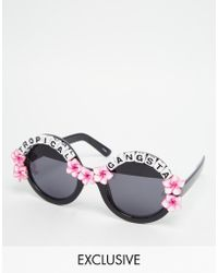 Rad & Refined - Tropical Gangsta Round Sunglasses With Hibicus Flowers - Lyst
