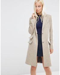 ASOS - Wool Blend Slim Coat With Pocket Detail - Lyst