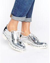 E8 - E8 By Miista Freja Flower Metallic Lace Up Flat Shoes - Lyst