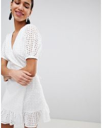 Fashion Union - Wrap Dress In Broderie - Lyst