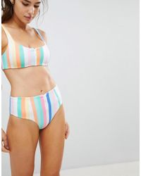 SKYE & staghorn - Skye & Staghorn High Waisted Stripe Zip Up Bikini Bottom - Lyst