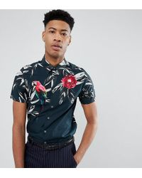 Ted Baker - Tall Slim Short Sleeved Shirt With Tropical Print - Lyst