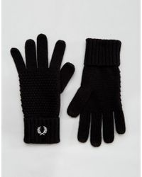 Fred Perry - Pique Gloves In Lambswool - Lyst