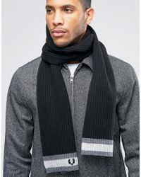 Fred Perry - Tipped Scarf In Lambswool - Black - Lyst