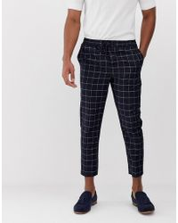 New Look - Smart Trousers In Navy Grid Check - Lyst