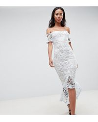 Missguided - Lace Bardot Fishtail Midi Dress - Lyst