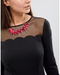 Ted Baker - Fawna Fuchsia Drop Flower Necklace - Lyst