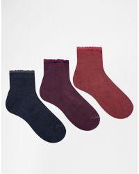 Ruby Rocks - 3 Pack Ankle Socks - Lyst