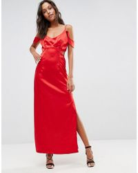Wyldr - Windslow Corvette Satin Dress With Off The Shoulder Frill And Waist Cut Out - Lyst