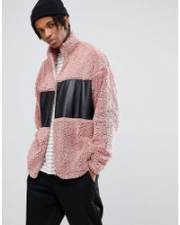 ASOS - Oversized Borg Track Jacket With Woven Cut & Sew - Lyst