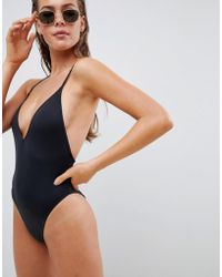 142e4c5bd5ecc Missguided White Skinny Strap Plunge Swimsuit in White - Lyst