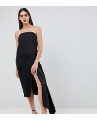 ASOS - Asos Design Tall Bandeau Satin Midi Dress - Lyst