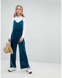 Weekday - Velvet Cami Jumpsuit In Petrol Blue - Lyst