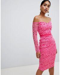 Vesper - Lace Boat Neck Long Sleeve Pencil Dress - Lyst
