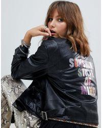 Native Rose - Faux Leather Biker Jacket With Rainbow Sunshine Slogan - Lyst