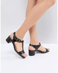 Dune - Leather Black Studded Heeled Sandals - Lyst