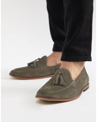 ASOS - Design Loafers In Gray Suede With Woven Detail - Lyst