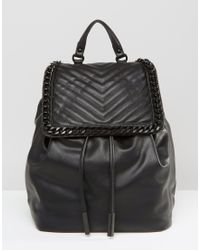 ALDO - Backpack With Chevron & Chain Detail - Lyst