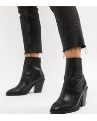 805df6fb380 Oasis Heeled Ankle Boots In Black Patent in Black - Lyst